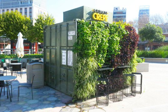 Mariana Flombaum, green-walled shipping container restaurant, Urban Crepe, Buenos Aires, Ana Lisa Alperovich, vertical green wall, recycled shipping container, food stall, French crepes