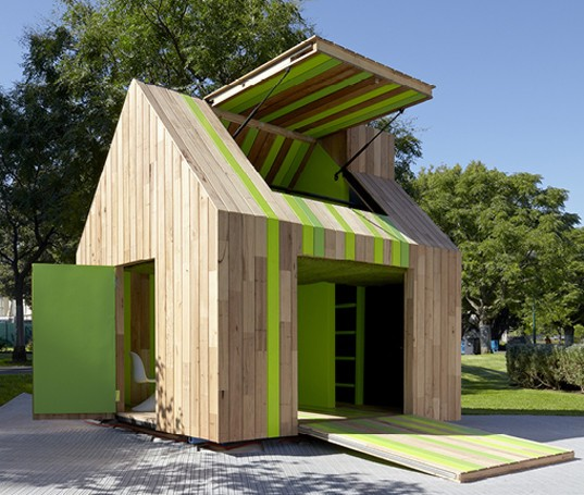 adorable cubby house is a pop up playhouse made just for children inhabitat green design. Black Bedroom Furniture Sets. Home Design Ideas
