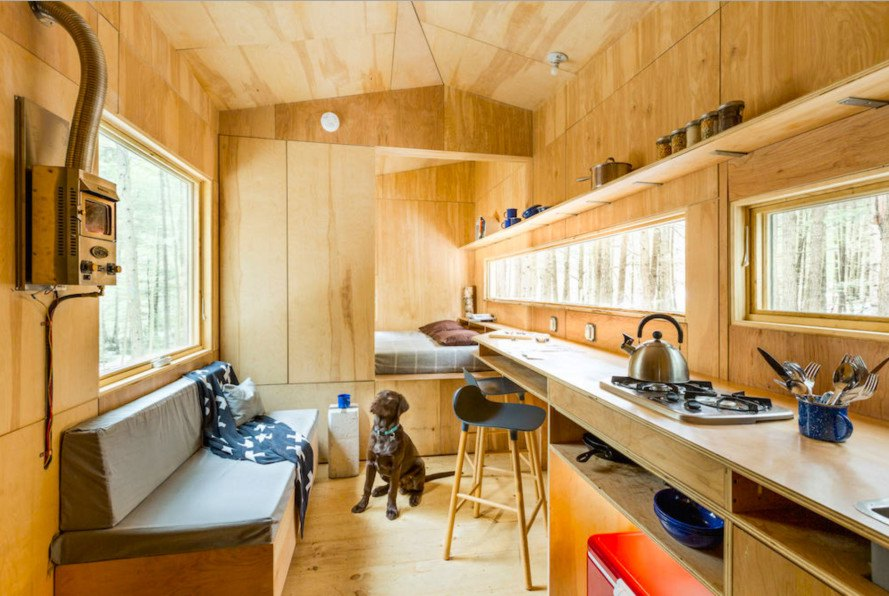 Tiny House Interior Getaway, Getaway startup, Getaway Harvard startup, tiny house by Harvard students, Harvard, Harvard student architects, Harvard Innovation Lab, Millennial Housing Lab, off grid, tiny house, microhomes, tiny house living, tiny homes, cabin, Clara, Clara tiny house,