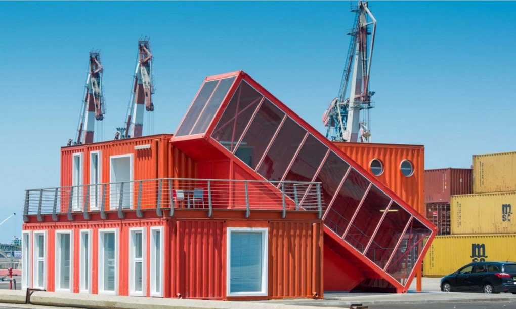 7 Bright Red Shipping Containers Repurposed As Modern
