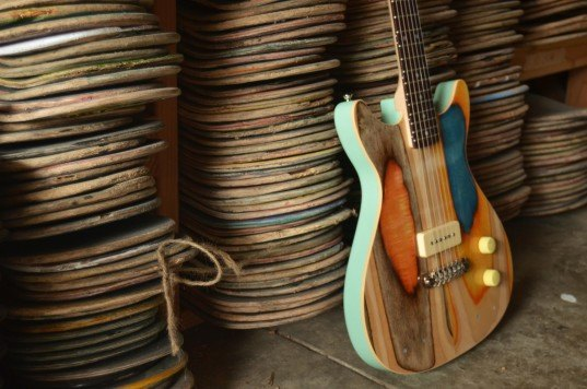 Nick Pourfard, Prisma Guitars, up cycling, reclaimed skateboards, reclaimed skateboard decks, guitars, ecofriendly company, woodworking, handmade guitars, skateboarding, guitars,