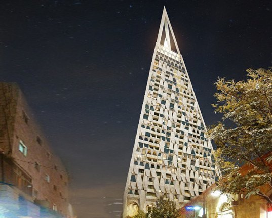 Studio Daniel Libeskind, Yigal Levi, Jerusalem, Jerusalem Pyramid, multi-use tower, green tower, stone and glass, stone facade, geometric pattern, green architecture, shopping arcade, rooftop restaurant, public plaza, public space