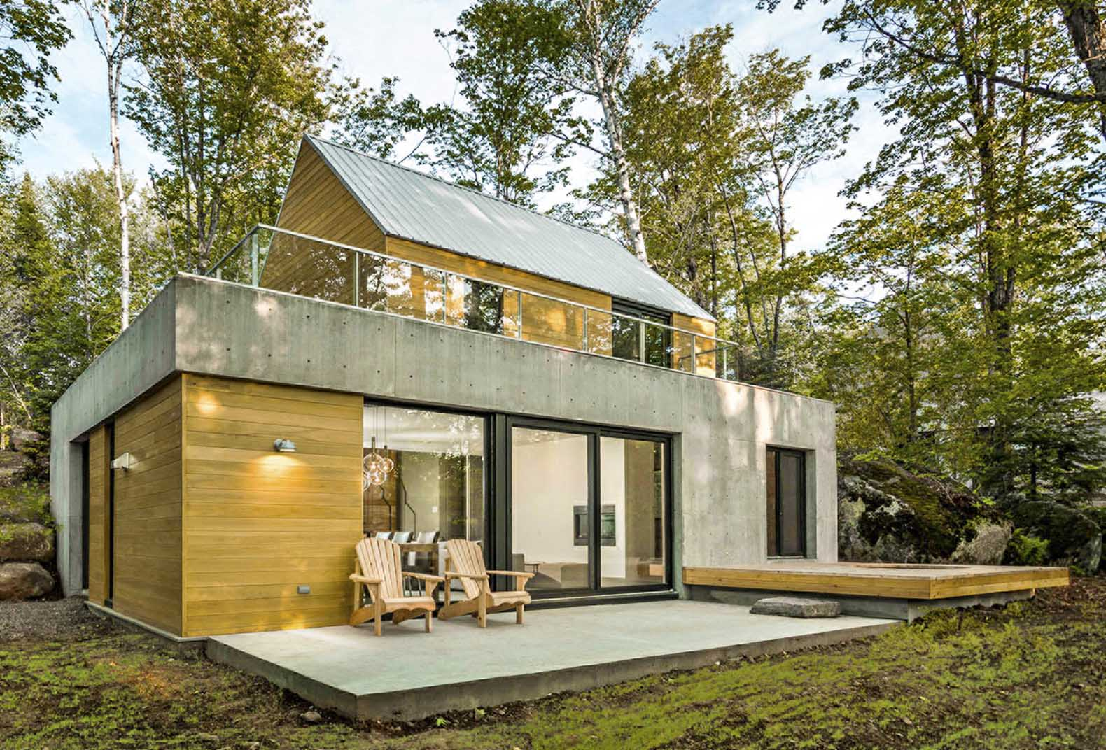 spahaus and trihaus are ready to live homes tucked in a canadian forest