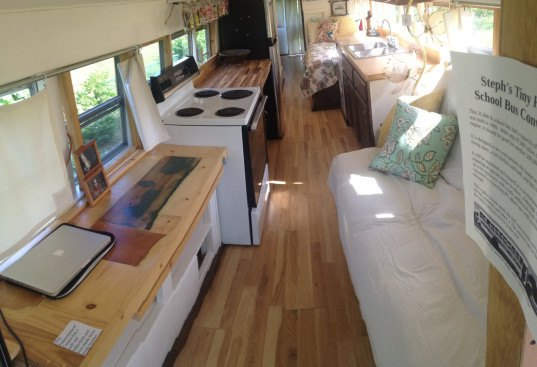 tiny home bus conversion, tiny house, tiny home, bus home, bus renovation, tiny home renovation, turning bus into a tiny house, stephanie adams, school bus conversion, tiny home school bus