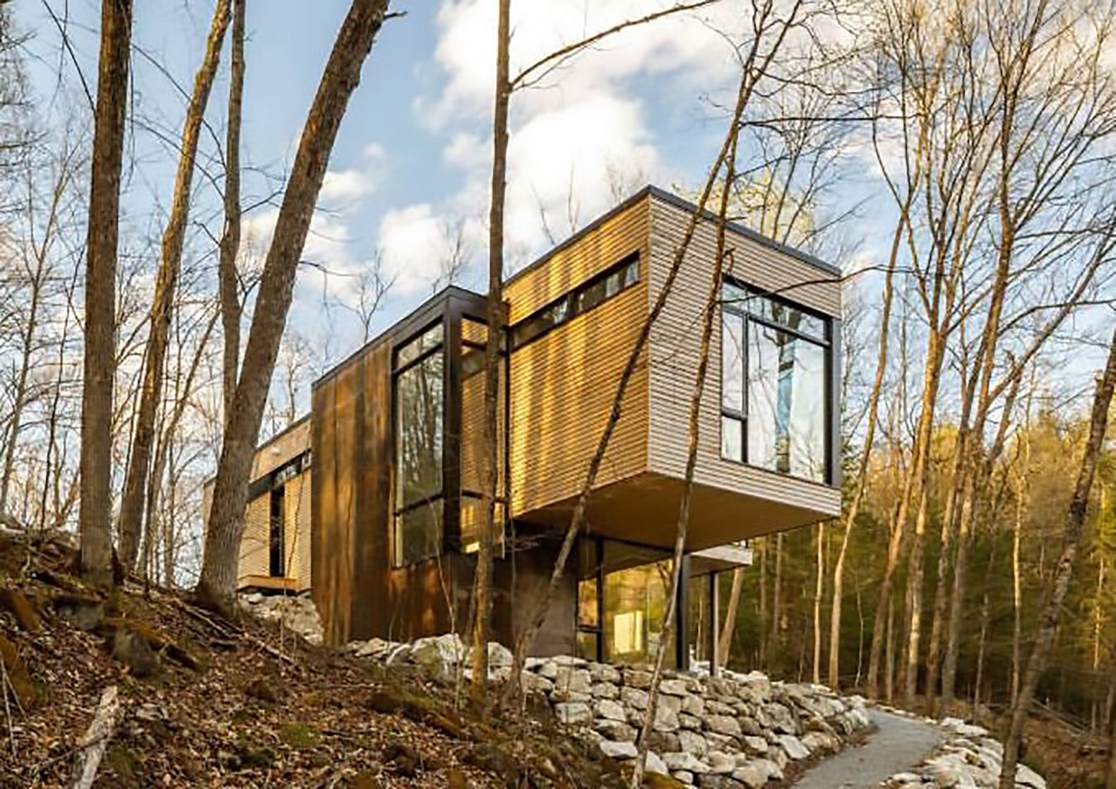 Cantilevered timber clad retreat overlooks lakeside views