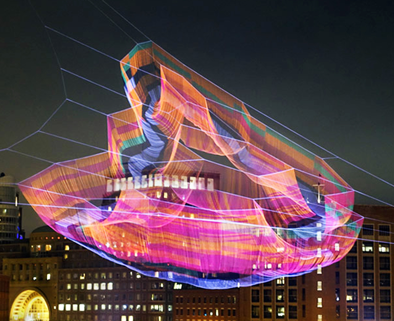 Aerial sculpture made with half a million knots hovers over Boston
