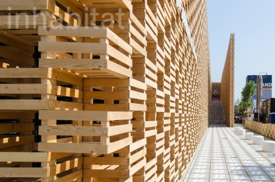 2015 Milan Expo, 2pm, archtiectural facade, Poland, Polish design, polish designers, Polish green architecture, Polish green building, Polish Pavilion, recycled wood, warsaw, Wood, wood architecture, wood facade, world expo 2015