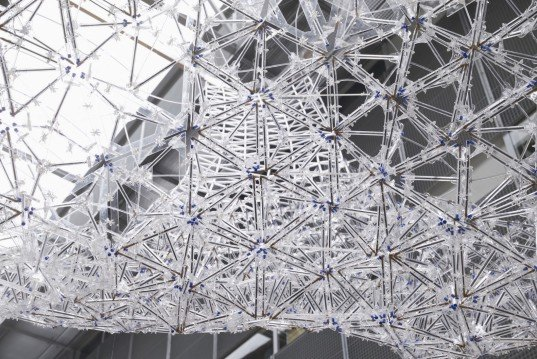 IASS, International Association for Shell and Spatial Structure, BIC Cristal pen, BIC pens, recycled BIC pens, BIC pen pavilion, BIC pen canopy, AAU Anastas, Landolf Rhode-Barbarigos, and Yann Santerre, recycled pens, recycled materials, tetrahedron models,