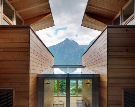 Casa Rosset, geothermal energy, zero energy, zero energy home, De Carlo Gualla Architects, Italian Alps, Aosta, solar energy, low-emission glazing, passive principles, passive house, heat pumps, timber louvers