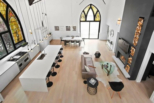 Linc Thelen Design, Scrafano Architects, Murphy Bed, custom built furniture, historic church, church renovation, church turned home, church conversion, church home conversion, stained glass windows, bell tower, contemporary home, Chicago,