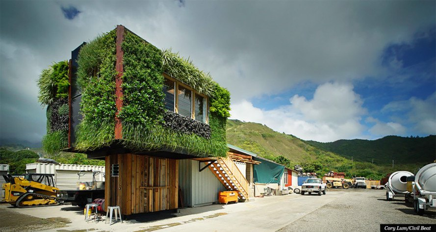 Solar powered elevate structure is wrapped in a living - Building a living wall ...