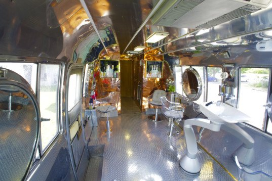 hairstream nyc, hairstream, airstream trailer conversion, trailer conversion, mobile hair studio, ric pipino, gil haziza, retro trailer conversion, upscale hair studio in a trailer