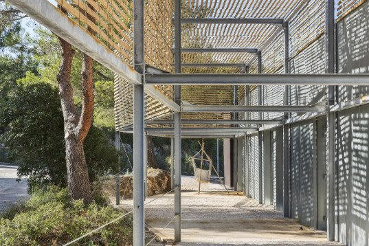 PAN Architecture, school design, school extension, Marseille's Architecture School, French architects, perforated building, canopy, prefab building, wooden structure, metal facade, locally sourced materials, green school, green architecture