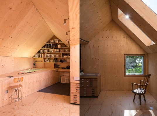 Midden Studio, Studio Weave, Scotland, Midlothian, zinc, zinc facade, embossed zinc, plywood, plywood interior, artists studio, skylights, soffit light, Scottish architecture, twin-gabled, gabled roof,