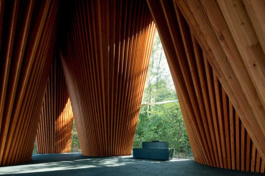 Syama Forest Chapel, NAP Architects, chapel, Japan, religious architecture, wooden structure, pitched roof, sloping roof, curved interior, aluminium, green architecture
