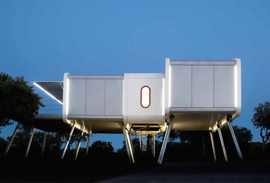 NOEM, Spaceship House, Spaceship House by NOEM, Class A energy certification, energy efficiency, Pyrenean wood, La Moraleja, UFO-like home, UFO home, prefab home, modular home, prefab architecture, modular architecture, sci-fi home,