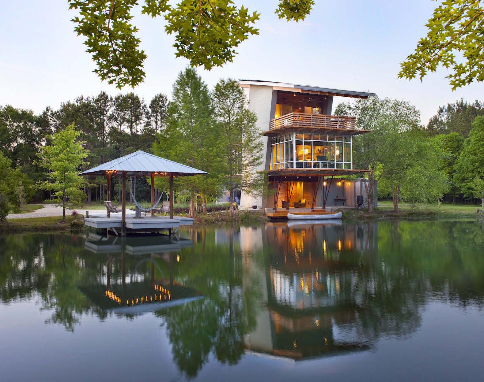 Gorgeous Pond House is a zero-energy 'dream house' retreat in Louisiana