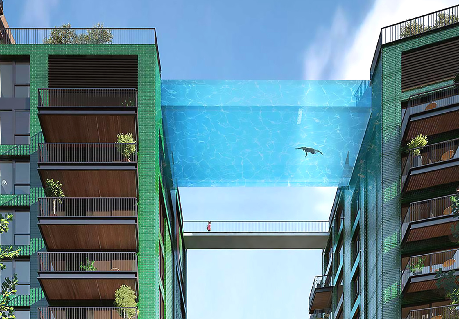 Glass-bottomed sky pool will be suspended 115 feet in the air