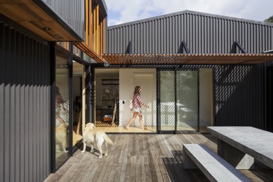 offSET Shed House, offSET Shed House by Irving Smith Jack Architects, offSET Shed House by ISJ Architects, ISJ Architects, passive design, New Zealand, shed house, rainwater collection, northern light, beach house, Tasmanian Oak, corrugated metal