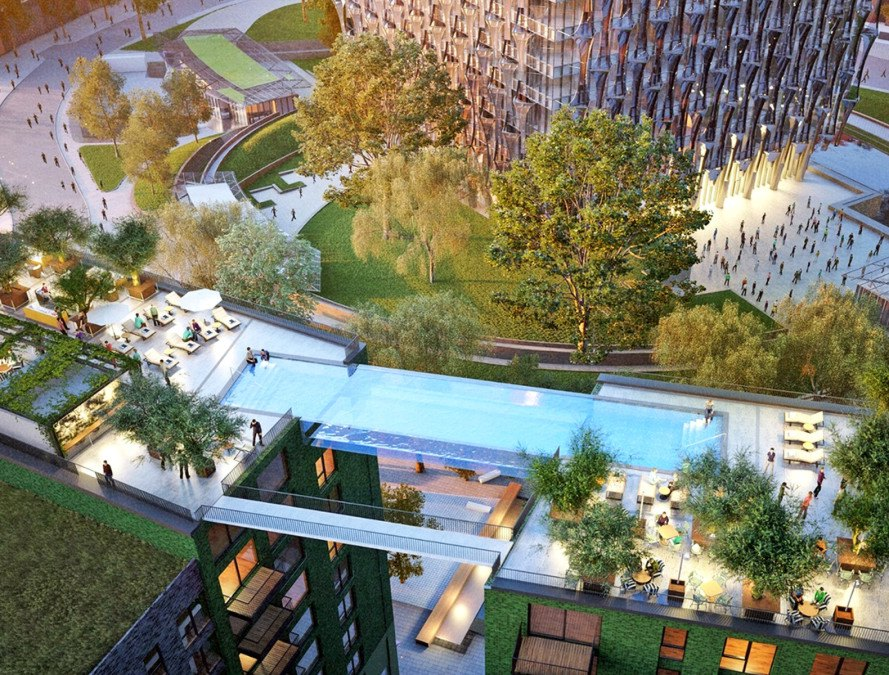 Glass bottomed sky pool will be suspended 115 feet in the air - Apartments with swimming pool london ...