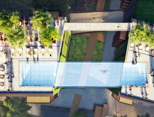 Glass bottomed sky pool will be suspended 115 feet in the - Apartments with swimming pool london ...