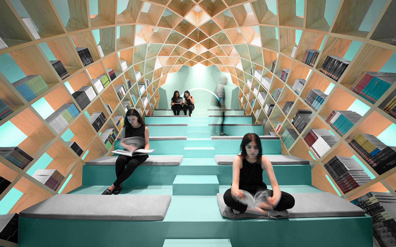Geometric Bookshelf Turns The Library Into A Personal Reading Pod
