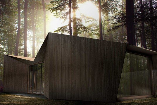 Antony Gibbon, double gable roof, Inhabit Ground, Inhabit Tree House, wooden cabin, symetrical cabin
