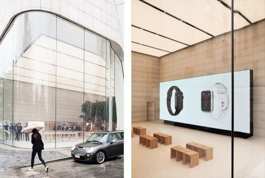 Apple, Apple store, retail, green interior, Brussels, Belgium, Jonathan Ive, wooden furniture, glass facade