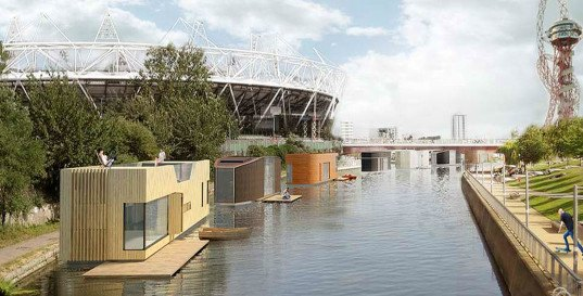Baca Architects, London, floods, prefab houses, prefb, floating houses, green architecture, affordable housing, Floating homes