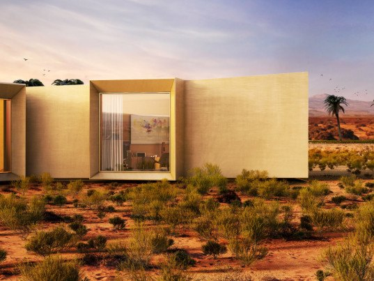 baharash architecture, solar powered desert retreat, united arab emirates desert home, luxury vacation home desert, solar powered vacation home, solar powered home, 100 percent solar powered