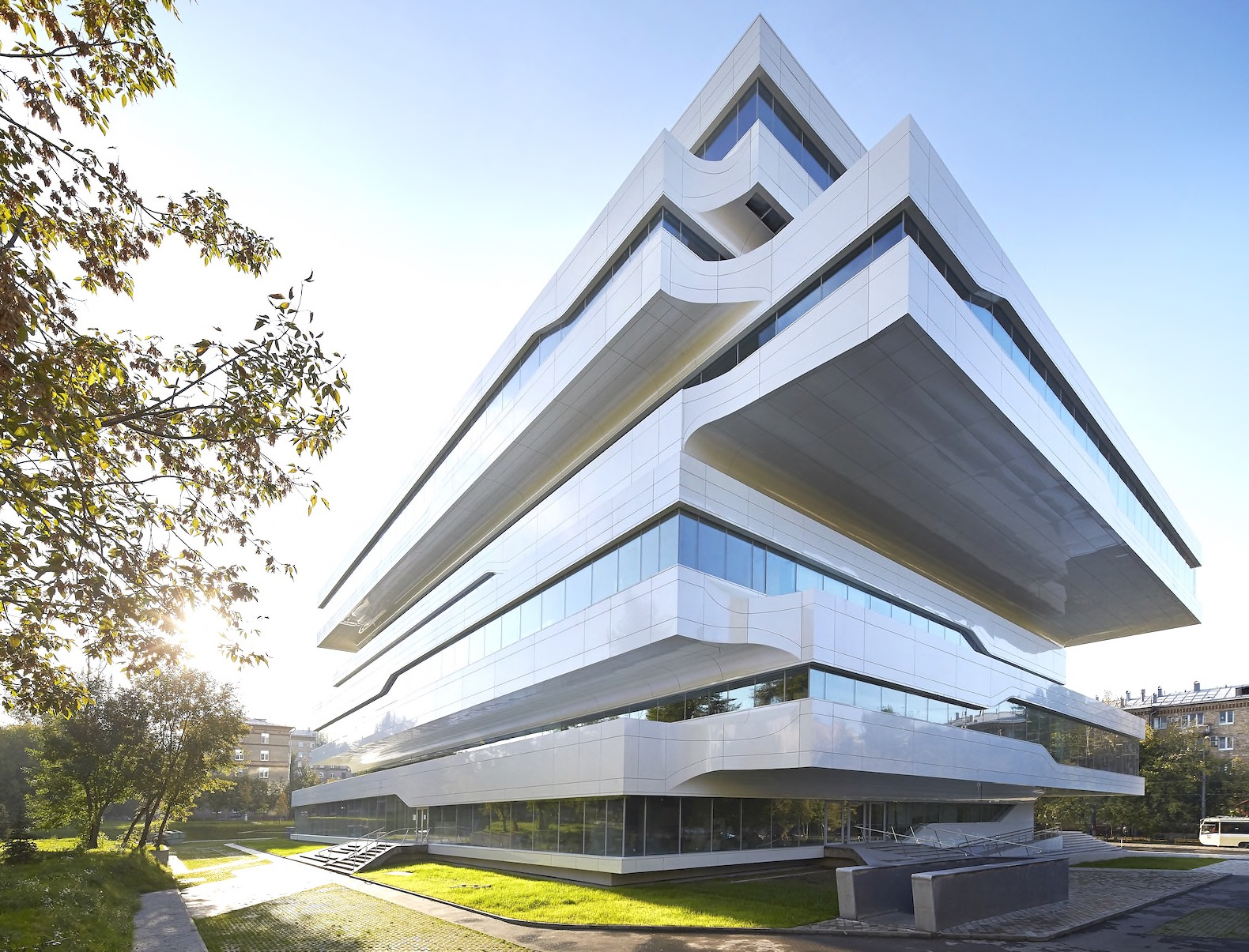 architectural buildings designs. Zaha Hadid\u0027s Dominion Office Building In Moscow Boasts A Space-age Interior Architectural Buildings Designs
