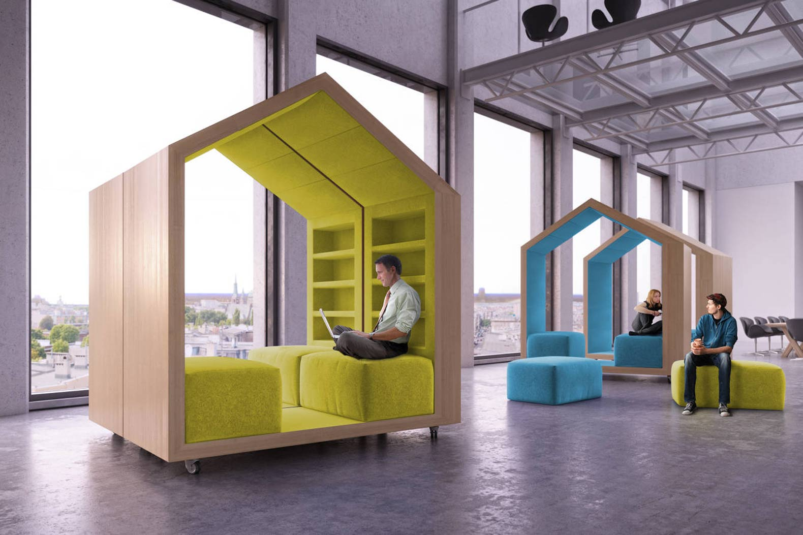 Dymitr Malcewu0027s Tree House Modules Provide Privacy In Open Plan Offices