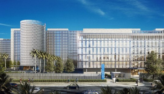 SOM, Egypt's National Cancer Institute (NCI), medical reseach, Cairo, Egypt, vernacular architecture, courtyard, LEED Gold, LEED certification, green building, medical campus