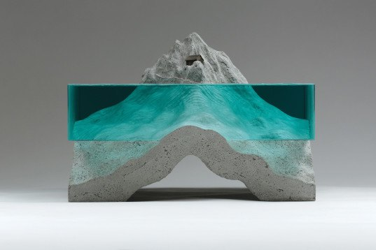 Ben Young, Glass sculptures by Ben Young, glass and concrete, cut glass sheets, glass layer sculpture, blue glass, water-like sculpture, water-inspired sculptures, hand sculpted glass, hand cut glass, glazier's oil filled glass cutter, float glass, cast concrete, cast bronze