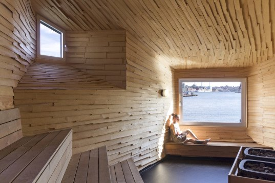 community project, community design, raumlabor, raumlabor berlin, Sweden, sauna, Göteborg, industrial port, urban renewal, recycled materials, upcycled materials, larch, larch shingles, corrugated iron, Frihamnen, Göteborg's Bathing Culture, Göteborg's Bathing Culture by raumlabor