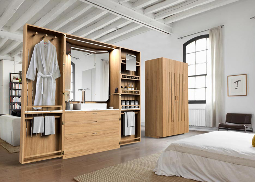 La Cabine is a pop-up bathroom that folds into a sleek wooden armoire