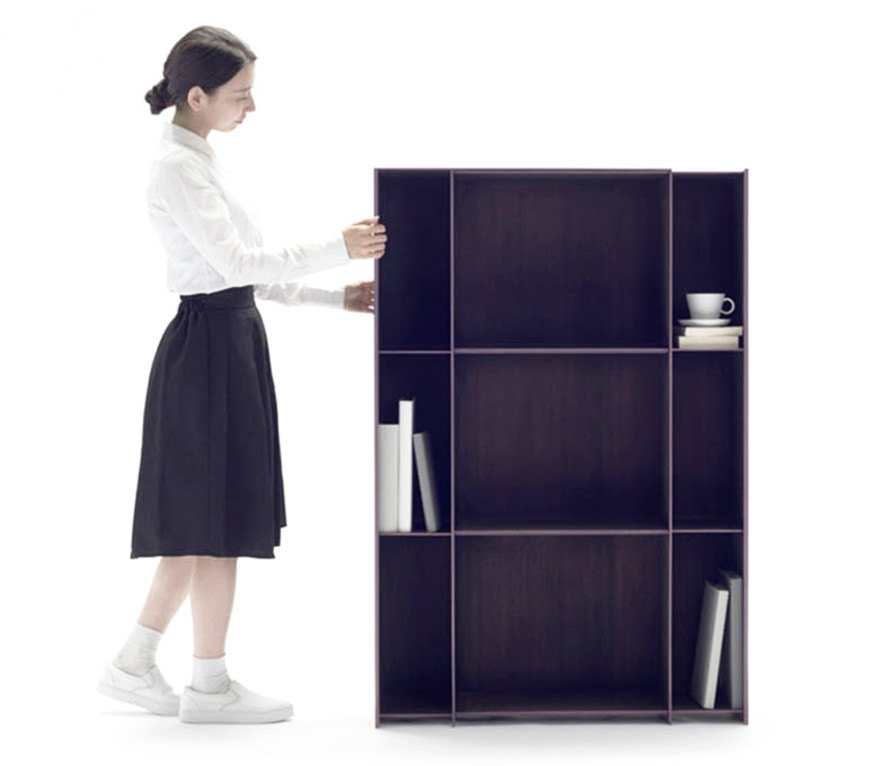 Nendou0027s Innovative Carbon Fiber Nest Bookshelf Shrinks And Expands Like An  Accordion