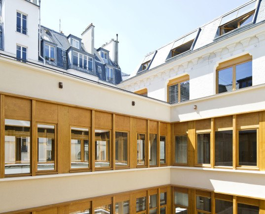 Parc Architects, Paris, office building, green renovation, wooden facade, aluminum facade, courtyard, green architecture, wooden architecture