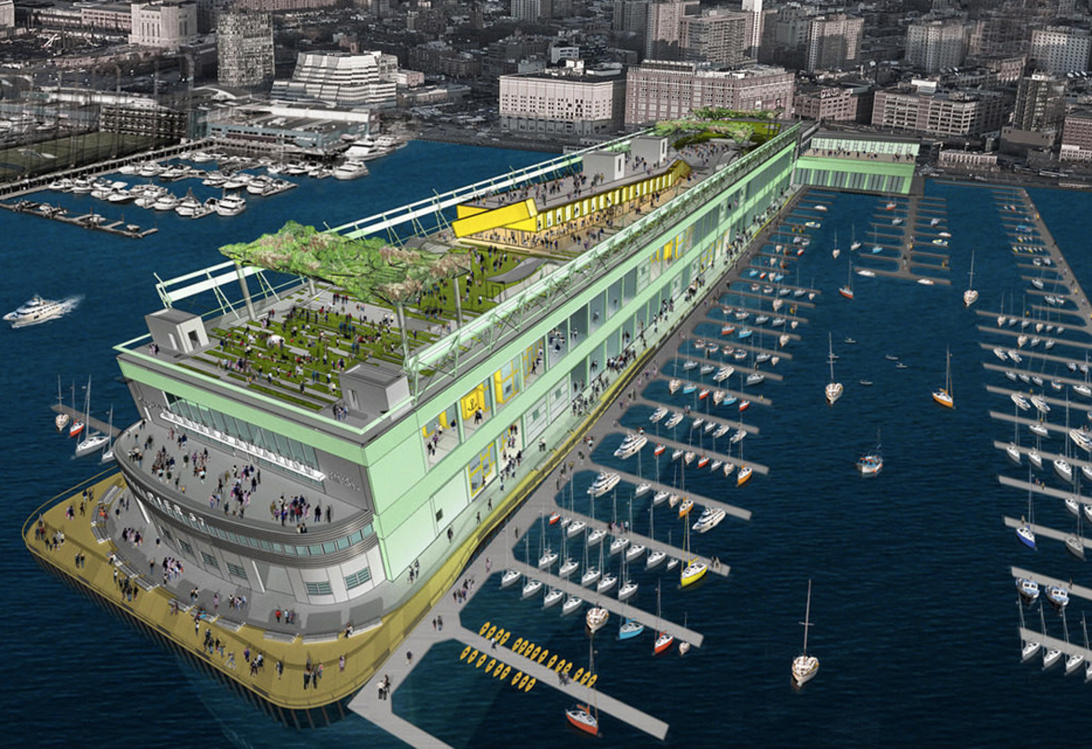 New designs for SuperPier shipping container mall's 13,339-square-foot rooftop park revealed