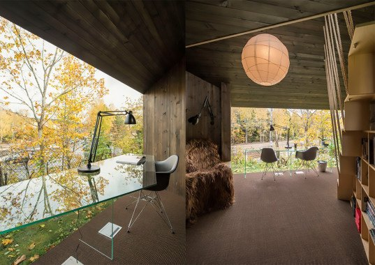 Jarmund / Vigsnæs AS Architects, JVA, Writer's Cottage 2 by JVA, Writer's cottage, writer's retreat, creative retreat, cottage, tiny building, tiny cabin, cabin, writer's cabin, glazed end wall, north facing light, timber cabin, sisal carpet, long-haired sheepskin
