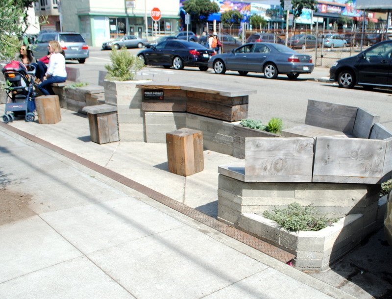 12 inspiring mini parks created in street parking spaces for Outer space urban design