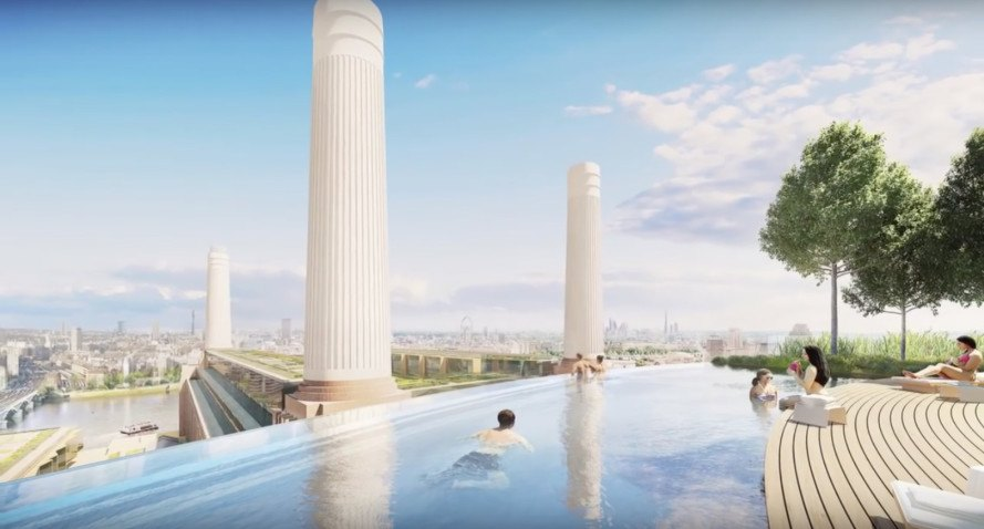 battersea power station, fosters + partners, frank gehry, james corner field operations, the skyline hotel, battersea park, art'otel, infinity pool, hotel infinity pool