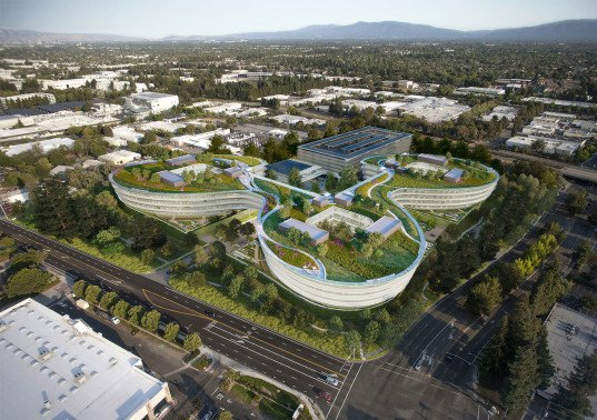 Sunnyvale, HOK Architects, Central & Wolfe Campus by HOK Architects, Central & Wolfe campus, Central & Wolfe Apple campus, Apple campus, green roof, Apple building, futuristic Apple campus, rooftop solar panels, LEED, Landbank Investments, notanotherbox, Apple spaceship campus