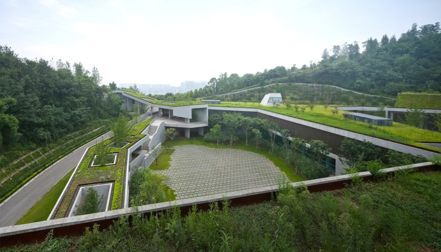 green roof, Vector Architects, Chongqing Taoyuanju Community Center, Chongqing Taoyuanju Community Center by Vector Architects, community center, Chongqing, minimize site disturbance, thermal mass, rainwater reuse, permeable pavement