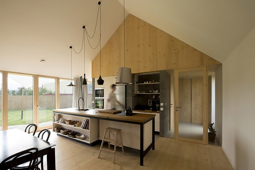 DomT House, DomT House by Martin Boles, Martin Boles, Architect Martin Boles, passive solar, barn-inspired house, natural light, high ceilings, spruce, siberian larch, slovakia, Stodola,
