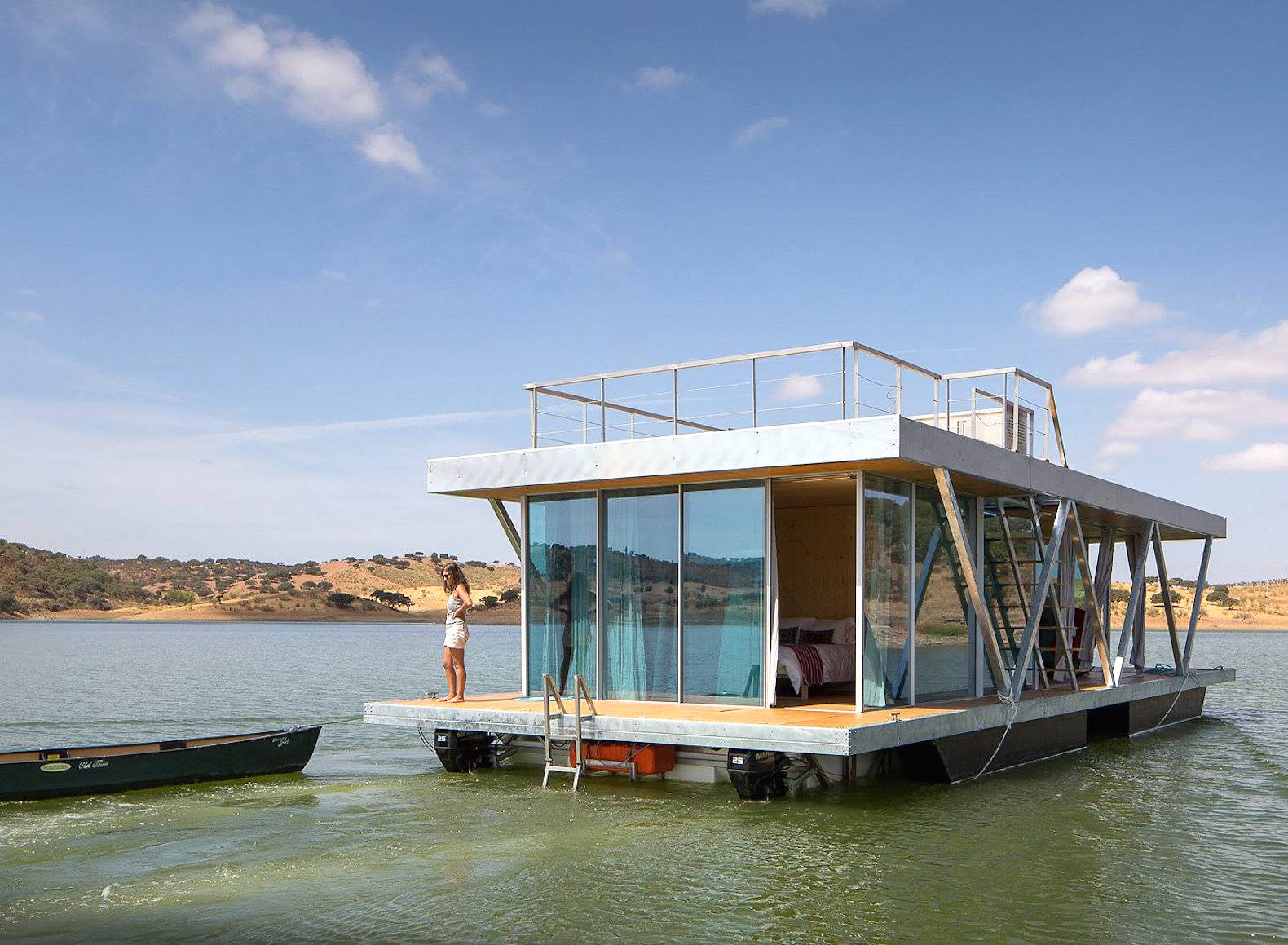 Solar-powered floating home in Portugal generates a year's worth of energy in just six months