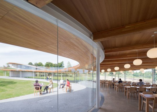 SANAA, Grace Farms cultural center, Connecticut, cultural center, glue laminated timber, aluminium, natural light, floor-toceiling windows, glass facade, OLIN, landscape architecture