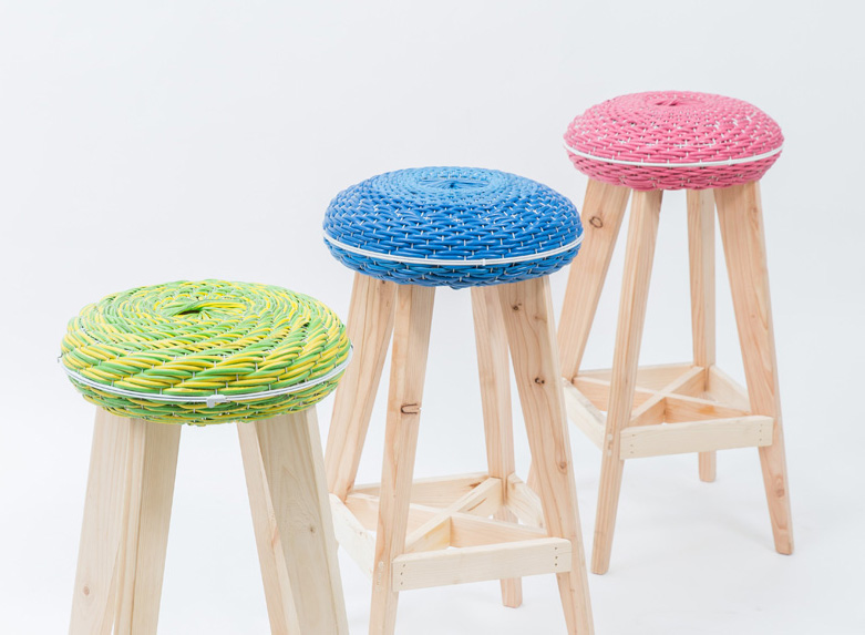 KaCaMa crafts colorful zero-waste stools from recycled fans and salvaged  wood