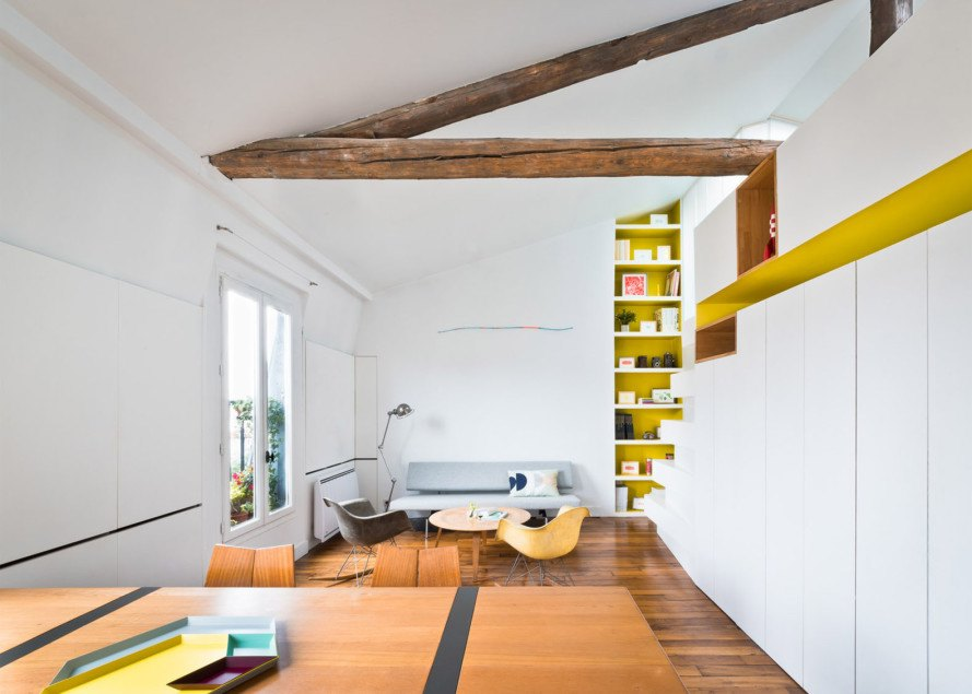 Hike apartment, SABO Project, Paris, green renovation, green interiors, herb garden, vertical garden, multifunctional furniture, small spaces, mezzanine, smart spaces