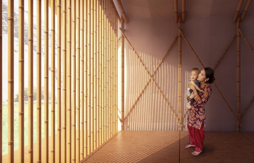 Barberio Colella ARC, Just a Minute by Barberio Colella ARC, Just a Minute housing, temporary housing, earthquake relief housing, disaster relief housing, OSB, OSB panels, modular architecture, bamboo, bamboo architecture, earthquake housing, solar panels, prefab architecture, Ikuku